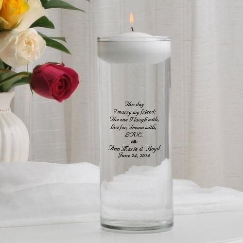 Personalized Floating Unity Candle-This Day Poem