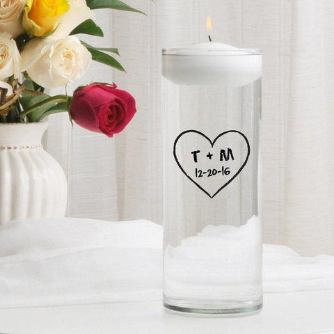 Personalized Floating Unity Candle - CP11HeartOfLove - Candles - AGiftPersonalized