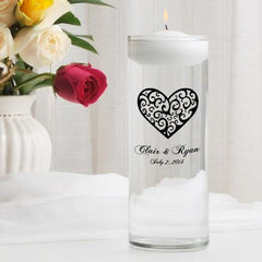 Personalized Floating Unity Candle - CP2VintageHeart - Candles - AGiftPersonalized