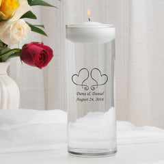 Personalized Floating Unity Candle - S17TwoHearts - Candles - AGiftPersonalized