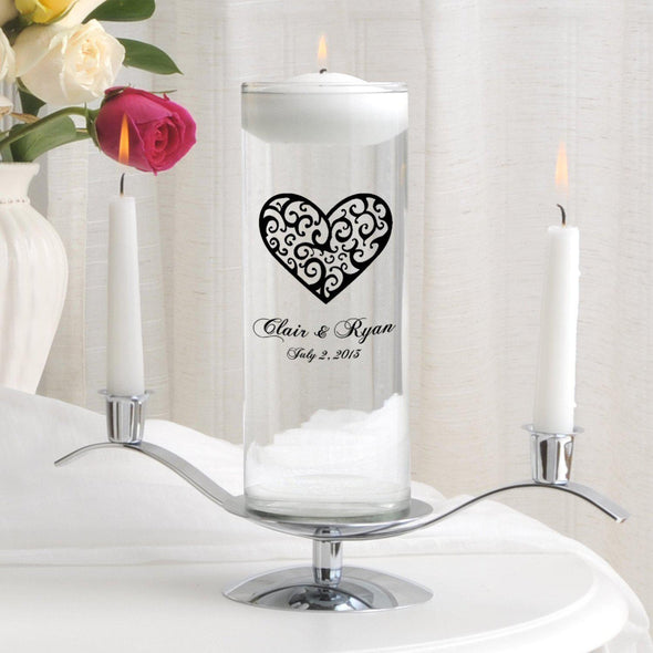 Personalized Floating Unity Candle Set - CP2VintageHeart - JDS
