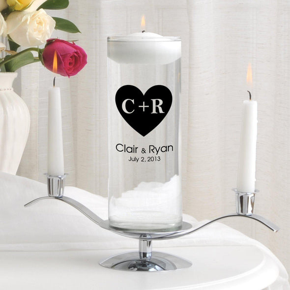 Personalized Floating Unity Candle Set - CP3CarvedHeart - JDS