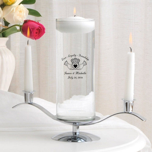 Personalized Floating Unity Candle Set - E5Claddagh - JDS