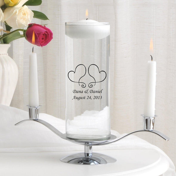 Personalized Floating Unity Candle Set - S17TwoHearts - JDS