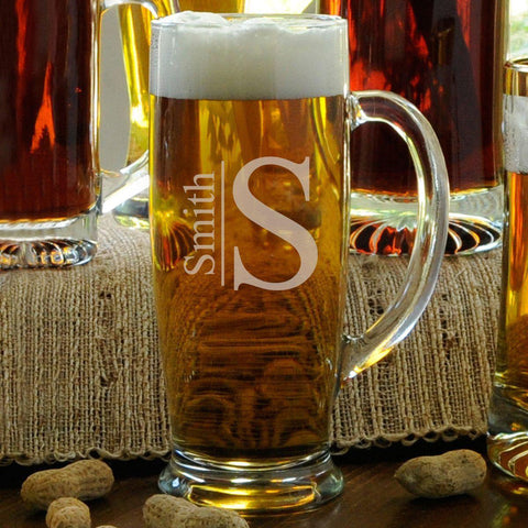 Personalized Beer Mugs - Glass - Slim - Monogrammed - 18 oz. - Modern - Glassware - AGiftPersonalized