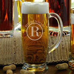 Personalized Beer Mugs - Glass - Slim - Monogrammed - 18 oz. - Circle - Glassware - AGiftPersonalized