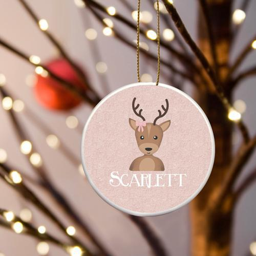 Personalized Girl Reindeer Pink Ceramic Ornament -  - JDS