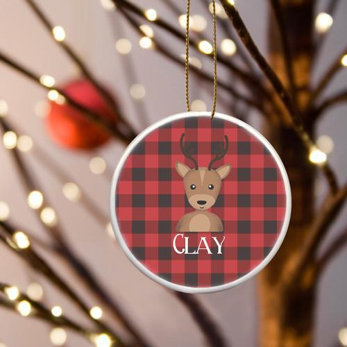 Personalized Boy Reindeer Plaid Ceramic Ornament