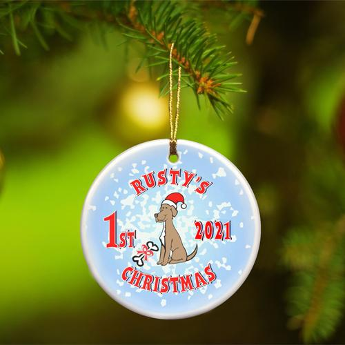 Personalized Merry Christmas Ceramic Ornament - PuppyBlue - JDS