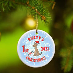 Personalized Merry Christmas Ceramic Ornament - PuppyBlue - Ornaments - AGiftPersonalized