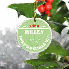 Personalized Merry Christmas Ceramic Ornament - PuppyGreen - Ornaments - AGiftPersonalized