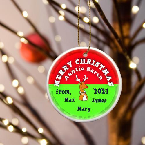Personalized Merry Christmas Ceramic Ornament - ReindeerRed - JDS
