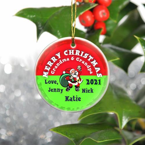 Personalized Merry Christmas Ceramic Ornament - SantaRed - JDS