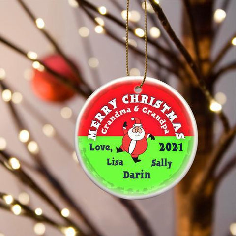 Personalized Merry Christmas Ceramic Ornament - SantaRoundRed - Ornaments - AGiftPersonalized