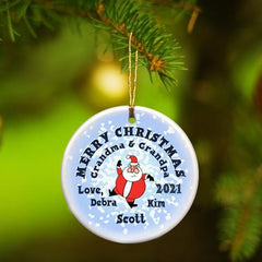 Personalized Merry Christmas Ceramic Ornament - SantaRoundSnow - Ornaments - AGiftPersonalized