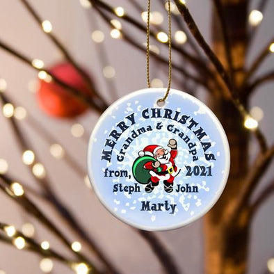 Personalized Merry Christmas Ceramic Ornament - SantaSnow - JDS