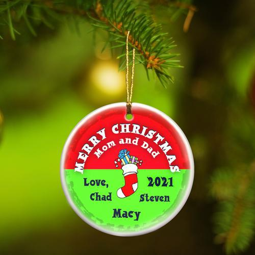 Personalized Merry Christmas Ceramic Ornament - StockingRed - JDS