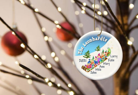 Personalized Elves Family Ceramic Ornament - 6 - Ornaments - AGiftPersonalized