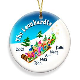 Personalized Elves Family Ceramic Ornament - 5 - Ornaments - AGiftPersonalized