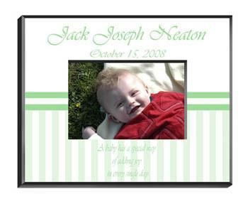 Personalized Children's Picture Frames - Stripes - Green - JDS