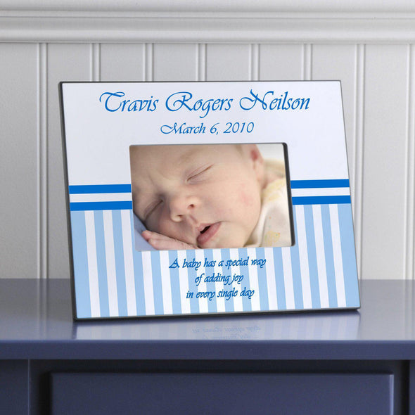 Personalized Children's Picture Frames - Stripes - Blue - JDS