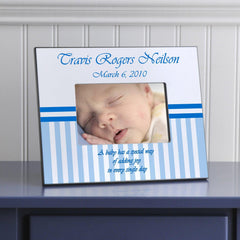 Personalized Children's Frames - Stripes - Blue - Frames - AGiftPersonalized
