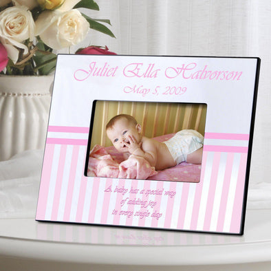 Personalized Children's Picture Frames - Stripes - Pink - JDS