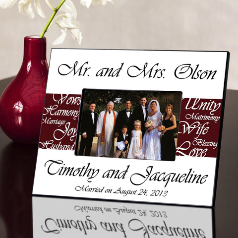 Personalized Picture Frame - Mr. and Mrs. - Wedding Gifts - Maroon