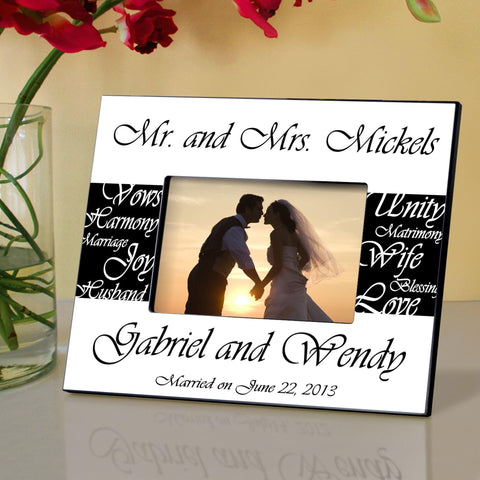 Personalized Picture Frame - Mr. and Mrs. - Wedding Gifts - Black