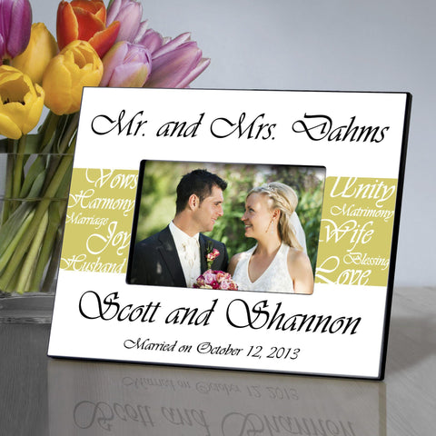 Personalized Picture Frame - Mr. and Mrs. - Wedding Gifts - Lime