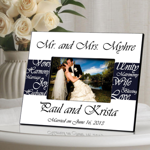 Personalized Picture Frame - Mr. and Mrs. - Wedding Gifts - Navy