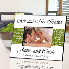 Personalized Picture Frame - Mr. and Mrs. - Wedding Gifts - Green