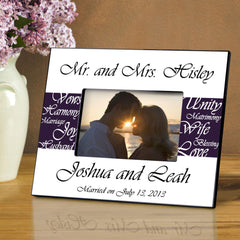 Personalized Picture Frame - Mr. and Mrs. - Wedding Gifts - Purple