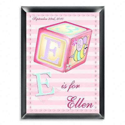 Personalized Kid's Room Signs - Girly Bee Block -  - Gifts for Kids - AGiftPersonalized