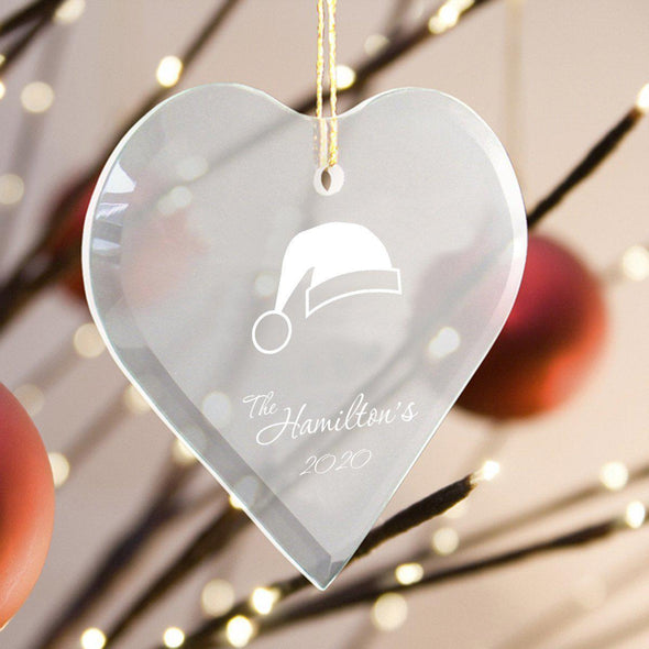 Personalized Heart Shape Glass Ornament - Christmas Ornament - SantaHat - JDS