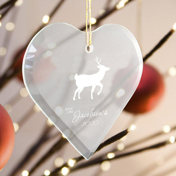 Personalized Heart Shape Glass Ornament - Christmas Ornament - Reindeer - JDS