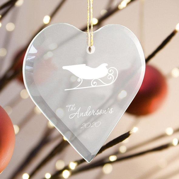Personalized Heart Shape Glass Ornament - Christmas Ornament - Sleigh - JDS