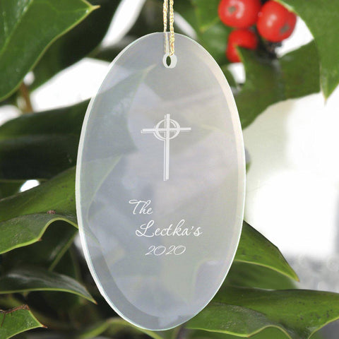 Personalized Beveled Glass Ornament - Oval Shape - Cross