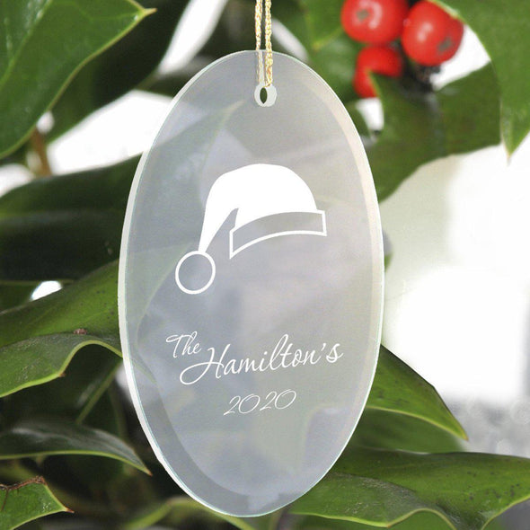 Personalized Beveled Glass Ornament - Oval Shape - SantaHat - JDS