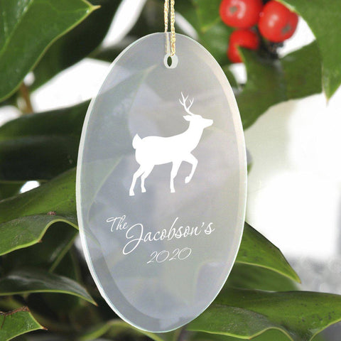 Personalized Beveled Glass Ornament - Oval Shape - Reindeer