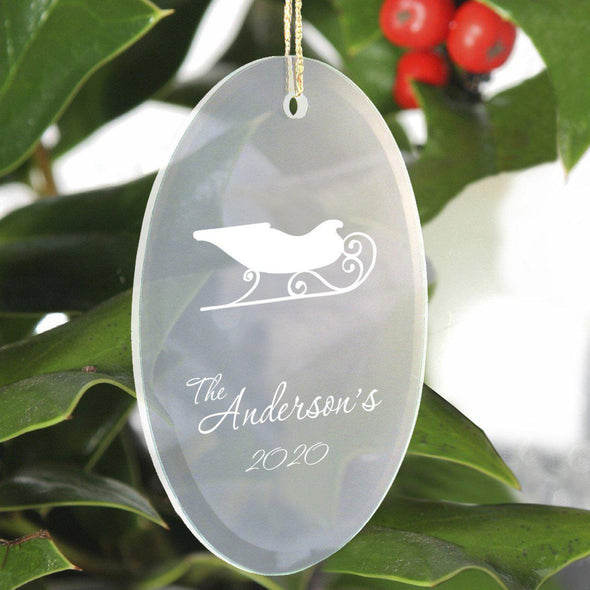 Personalized Beveled Glass Ornament - Oval Shape - Sleigh - JDS