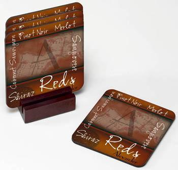 Personalized Wine Coasters - Red - JDS