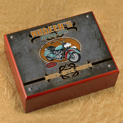 Personalized Cigar Humidor - Biker - Cigars and Humidors - AGiftPersonalized
