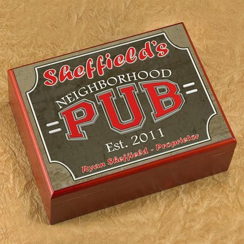 Personalized Cigar Humidor - NeighborhoodPub - Cigars and Humidors - AGiftPersonalized