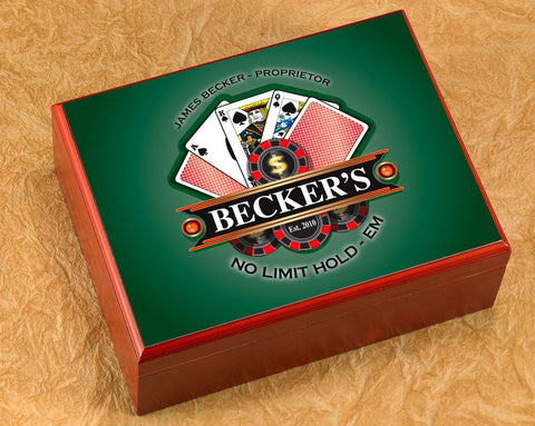 Personalized Cigar Humidor - Poker - Cigars and Humidors - AGiftPersonalized