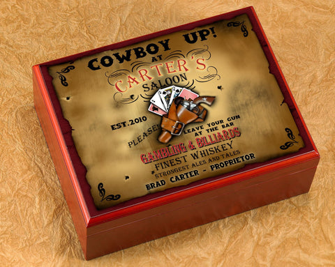 Personalized Cigar Humidor - Saloon - Cigars and Humidors - AGiftPersonalized