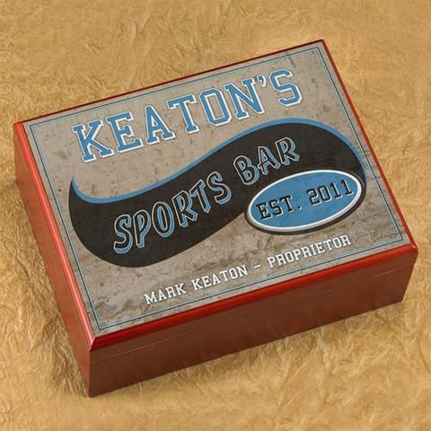 Personalized Cigar Humidor - SportsBar - Cigars and Humidors - AGiftPersonalized