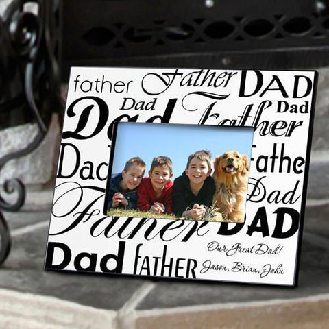 Personalized Dad-Father Frame - Black/White -