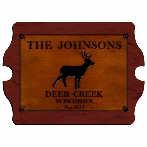 Personalized Cabin Series Wood Signs - Stag - JDS
