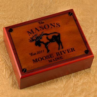 Personalized Humidors - Cabin and Lake House Series - Moose - Cabin Decor - AGiftPersonalized